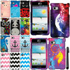 For LG Optimus F3 MS659 Design PATTERN HARD Protector Case Phone Cover + Pen
