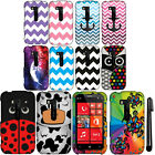 For Nokia Lumia 822 PATTERN HARD Protector Case Phone Cover Accessory + Pen
