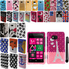 For Nokia Lumia 810 Design DIAMOND BLING CRYSTAL HARD Case Phone Cover + Pen