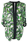 New Ladies Green Cream Palm Print Tunic Top Plus Size 16 - 28