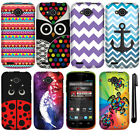 For ZTE Reef N810 Design PATTERN HARD Protector Case Phone Cover Accessory + Pen