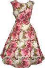 Kushi Anmol vintage 50s style cotton tea swing dress white with pink flowers.