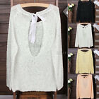 Romantic Open Back Bow Knit Jumper Sleeve Sweater Knitted Pullover Top One Size