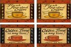 """COFFEE TIME FRESH ROASTED  2 DIFFERENT PICS MAGNETS  SET OF 4  ALUMINUM  2"""" X 3"""""""