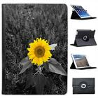 Bright Yellow Sunflower In Grey Fields Folio Leather Case For iPad Air & Air 2