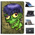 Zombie Monster With Worms In Head Halloween Folio Leather Case For iPad Air