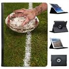 Muddy Hand Holding Muddy Rugby Ball on Line Leather Case For iPad Air & Air 2