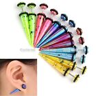 12pc Acrylic Mixed Colorful Spot Spike Taper Fake Cheater Ear Plug Earrings Lots