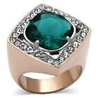 TK1160PB EMERALD GREEN  CZ RING STAINLESS STEEL & ROSE GOLD FILLED LASTING