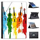 Multi Coloured Violins With Paint Splash Folio Leather Case For iPad Mini