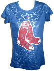 Boston Red Sox Baseball Burnout Big Socks Ladies Navy SS Shirt