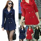 Women Woollen Winter Double Breasted Lapel Long Trench Coat Jacket Outwear Top