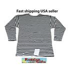RUSSIAN ARMY NAVY STRIPED BLACK T'SHIRT TELNYASHKA COTTON Winter HIQUAL US SELLE