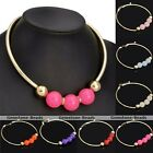 Womens Golden Jelly Ball Beads Pendant Chunky Collar Choker Statement Necklace