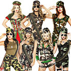 Sexy Army Ladies Fancy Dress Military Camo Uniform Soldier Womens Adults Costume