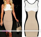 Women Vintage Optical Illusion Wear To Work Party Tunic Sheath Pencil Dress HOT
