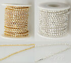 New 10 Yard  SS6-SS18 Glass Close Chain Clear Trim Sewing Craft