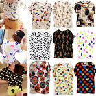Summer New Womens Colorful Casual Soft Chiffon Batwing Loose Blouse T-Shirt Tops
