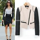 Sexy Women Punk Zipper Lapel Blazer Coat PU Leather Short Motorcycle Jacket N98B