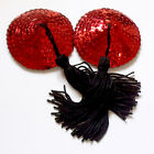 BURLESQUE Sequin Nipple Tassels Covers Pasties - Red / Black