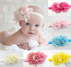 Hot Rose Flower Bow Pearl Headband Hair Fit Lovely Baby Girl jf395