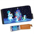 Snowman Family Decorating Xmas Tree Leather Flip Case for Samsung S4 Mini