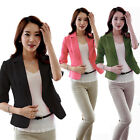 Korean OL Women Slim Fitted One Button Short Blazer Coat Jacket 3/4 Sleeve Suit
