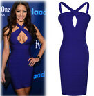 sexy Woman Sleeveless Backless Hollow Out Skirt Cocktail Mini Dress Party blue