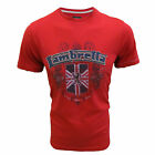 LAMBRETTA T SHIRT APPLIQUE CREST MOD TEE MENS UK S BLOOD RED