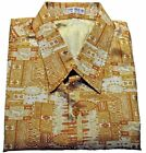 Mens Thai Silk Shirt  Short - Long Sleeve / S-XXXL / Yellow & White Pattern no.7