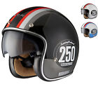 LIMITED EDITION BLACK SMITH CLASSIC RACER OPEN FACE SCOOTER MOTORCYCLE HELMET