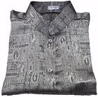 Mens Jacquard Thai Silk Shirt Mandarin Collar Short - Long Sleeve Silver S-XXXL
