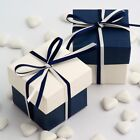 NAVY AND OFF WHITE SQUARE BOX AND LID WEDDING FAVOUR BOXES - CHOOSE QUANTITY