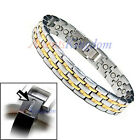 MENS 2 TONE MAGNETIC HEALTH TITANIUM GOLF BRACELET T10