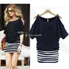 Women Short Sleeve Striped Stitching Strapless Shirt Dress Navy Blue S-XXL C1MY