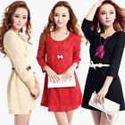 Sexy Women 3/4 Sleeve Lace Flower Slim Loose Cocktail Evening Party Mini Dress