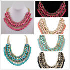 Womens Bohemia Charm Beaded Statement Bib Cluster Choker Chain Necklace Jewelry