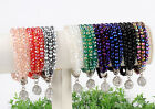 Women Faceted Crystal Glass 3-Row Rondelle Beads Strand Elastic Bracelet Bangle