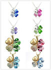 Jewelry Rhinestone Crystal Heart Lucky Four-Leaf Clover Pendant Necklace Gift