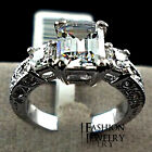 Exclusive!white gold filled Rectangle Emerald Cut CZ Zircon Engagement Ring