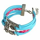 Fashion Leather Cute Infinity Charm Bracelet Jewelry Silver lots Style US