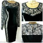 M&S MARKS & SPENCER COLLECTION DRESS BLACK NUDE VELVET LACE BODYCON PARTY 8 - 22