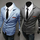 New Mens Casual Slim Fit Stylish two button Suits Blazer Coats 3Color -USA Stock