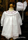 NWT Will'beth Holiday Christmas Smocked Bishop 3pc Dress Newborn 3 6 Months Girl