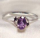 Genuine Faceted Oval Amethyst .925 Sterling Silver Ring -- AMT102