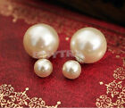 Metal Alloy Style Cuff 1 Pair Man Made Double Pearl Earrings Ear Studs 5 Colors