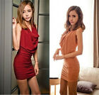 Women Sexy Piles Collar Cocktail Bandage Package Hip Evening Party Slim Dress
