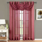 Abri Burgundy Grommet Crushed Sheer Curtain Panel