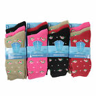 L009 LADIES GIRLS 12pr COTTON BLEND PATTERN DESIGN SOCKS OFFICE WORK NOVELTY SOX