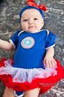 Halloween Baby Girls Captain America Blue Red Bodysuit Tutu Party Dress Costume